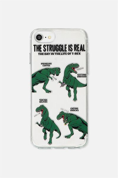 Transparent Phone Cover Universal 6,7,8, T REX STRUGGLE