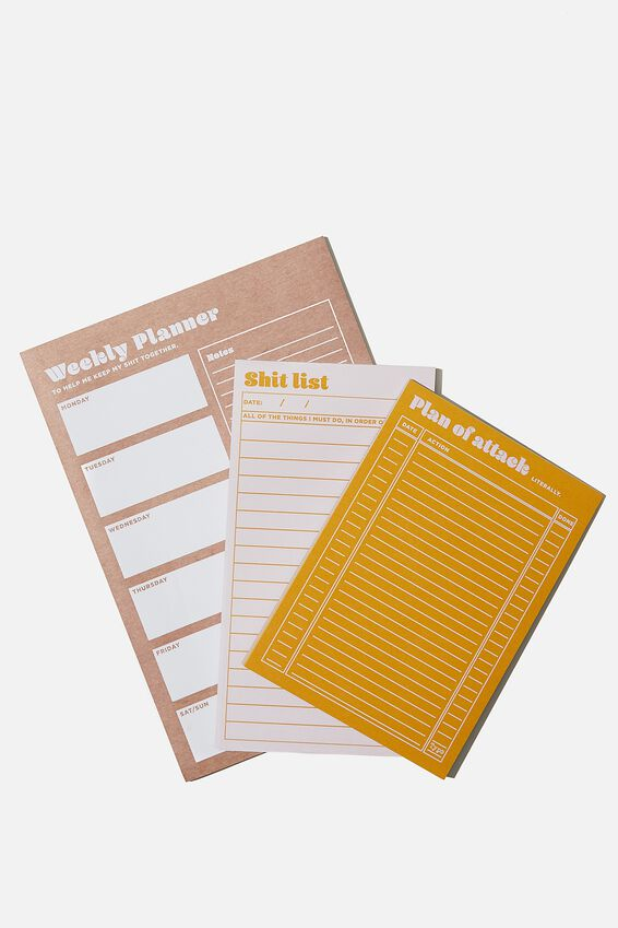 Notepad 3Pk, HEATHER AND MUSTARD