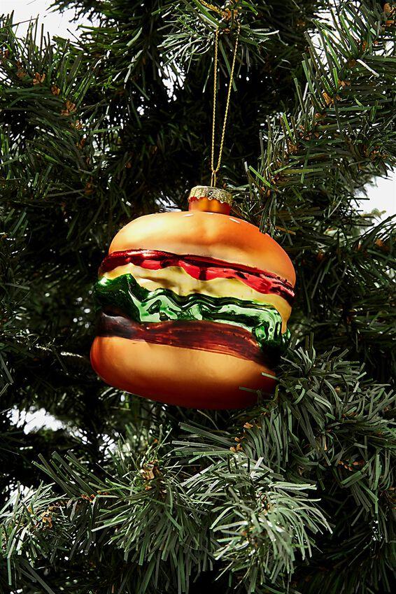 Glass Christmas Ornament, BURGER