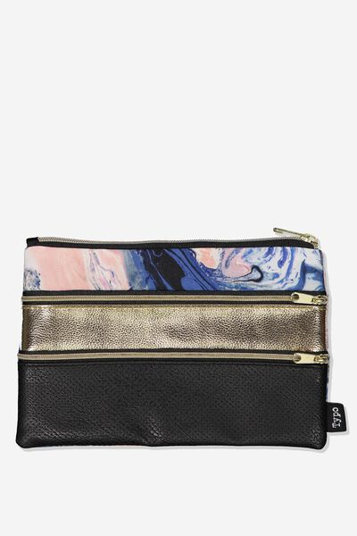 Double Archer Pencil Case, MOODY MARBLE COMBO