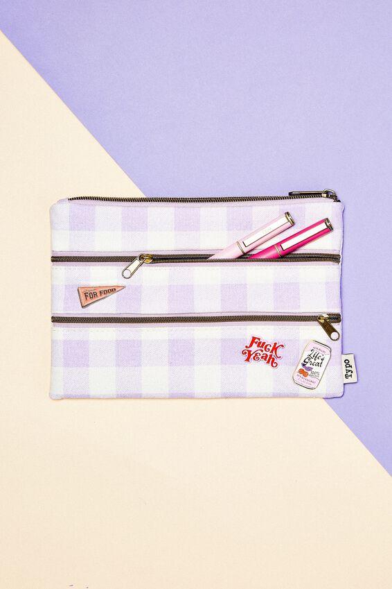Double Archer Pencil Case, GINGHAM PALE LILAC