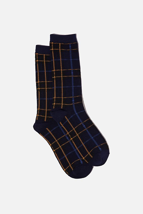 Socks, BLUE ORANGE GRID