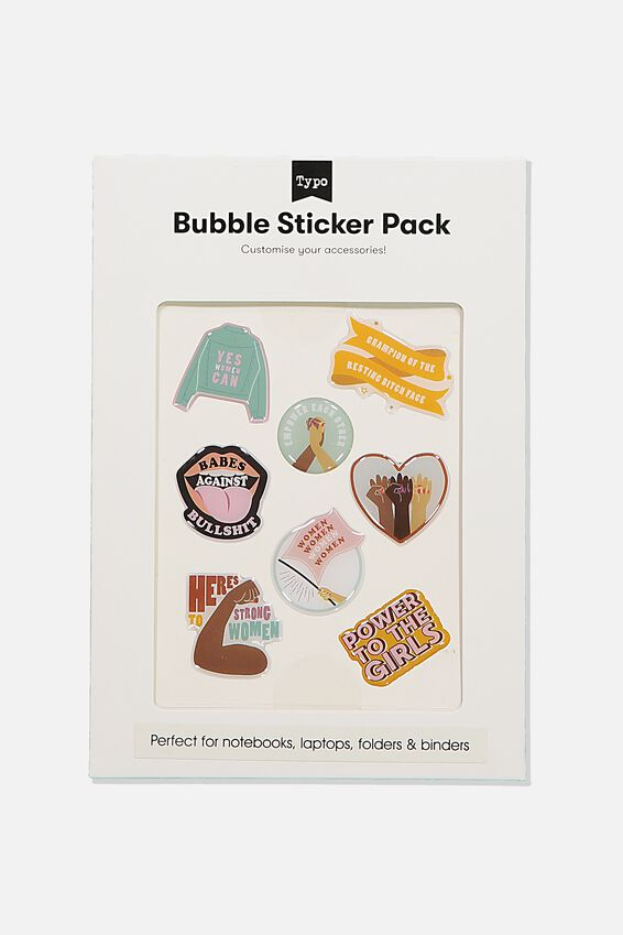 Bubble Sticker Pack, POWER TO THE GIRLS
