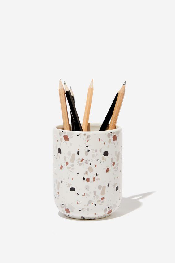 Pen Holder, WHITE TERRAZZO