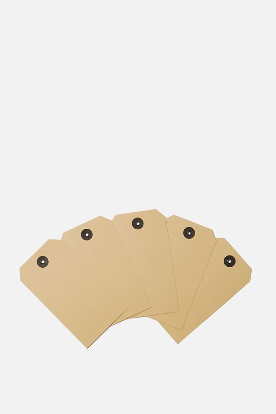 Gift Tag 5 Pack, WASHED MUSTARD
