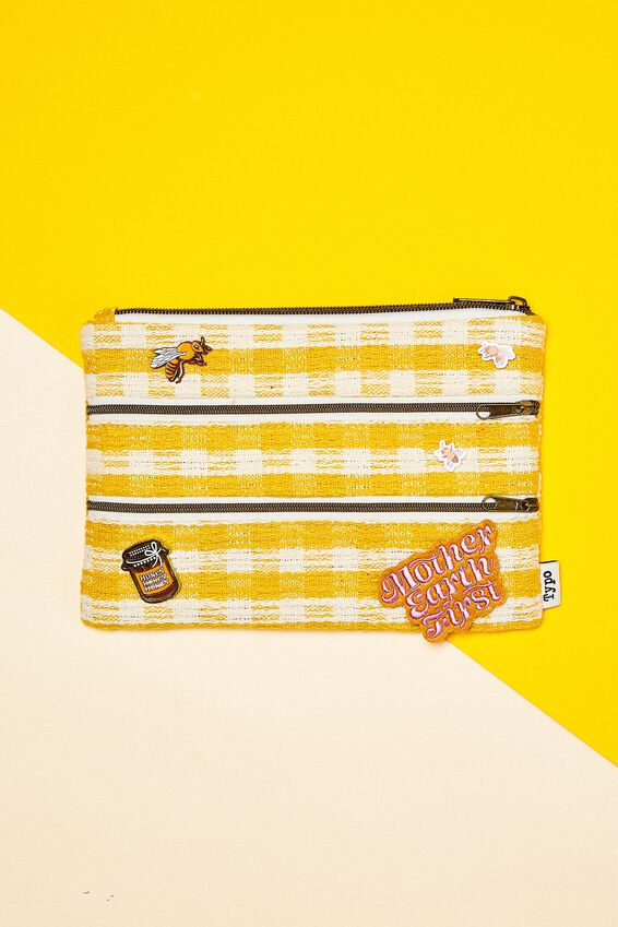 Double Archer Pencil Case, GINGHAM YELLOW