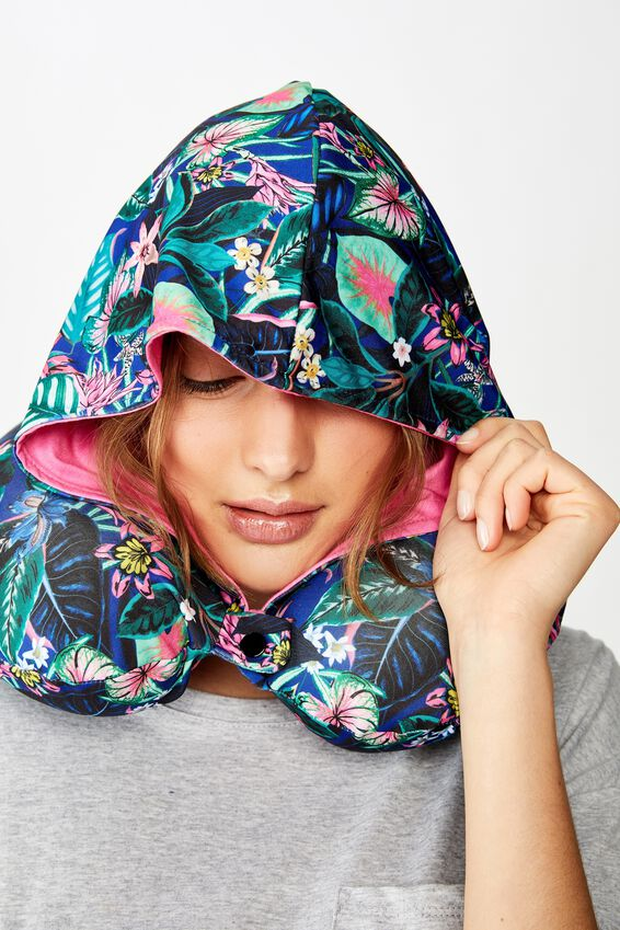Travel Neck Pillow with Hood, RESORT FLORAL