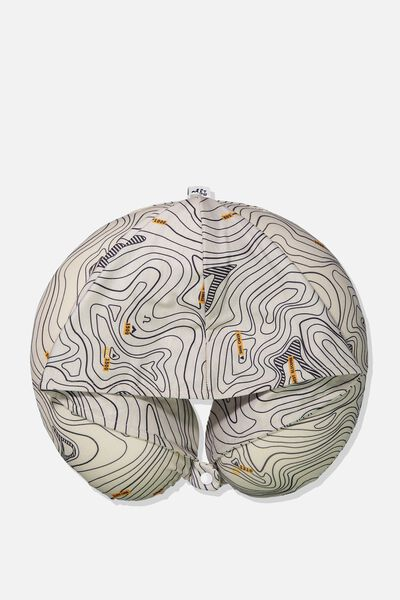 Travel Pillow With Hood, TOPOGRAPHIC MAP