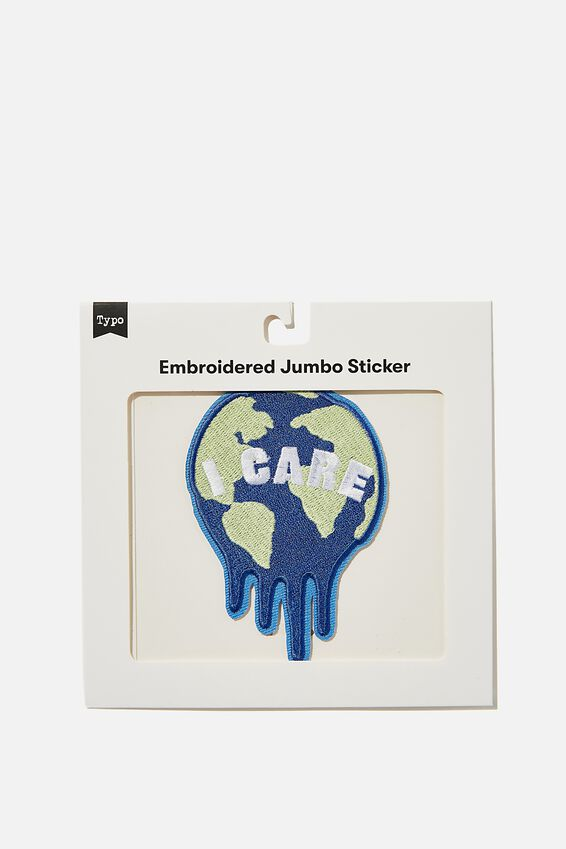 Embroidered Jumbo Sticker, EARTH I CARE
