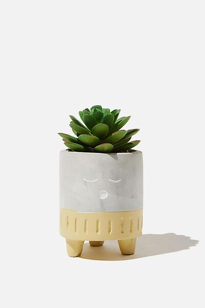 Tiny Planter With Plant, CEMENT & MUSTARD SLEEPY FACE