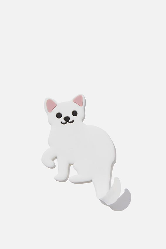 Flicked Tail Magnet, WHITE CAT