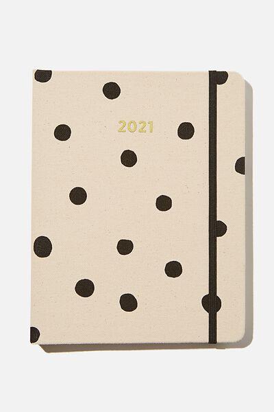 2021 Premium Planner, ECRU OVERSIZED POLKA