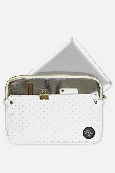 Varsity Laptop Case 13 Inch, LCN WHITE MICKEY DITSY