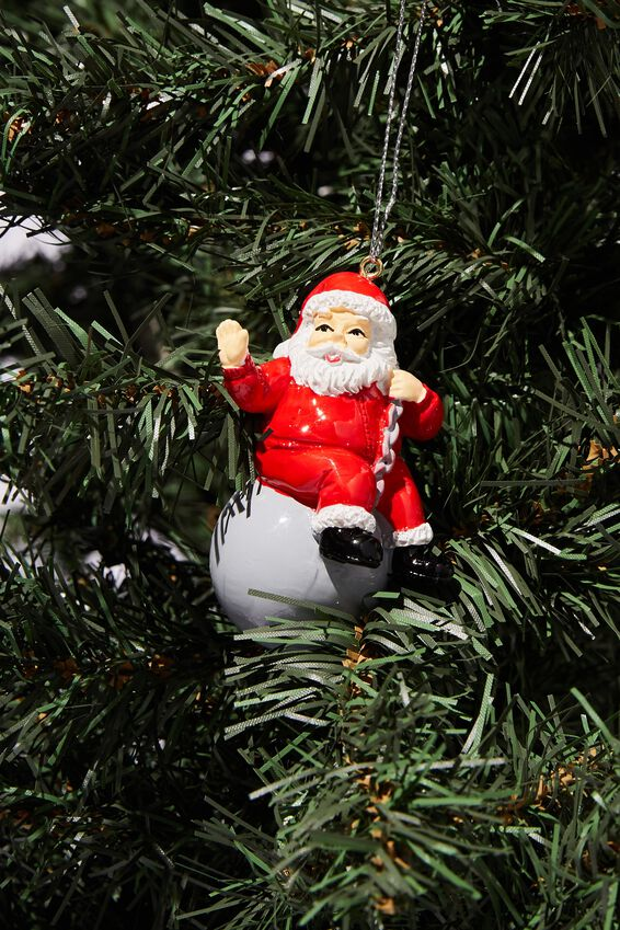 Resin Christmas Ornament, SANTA WRECKING BALL