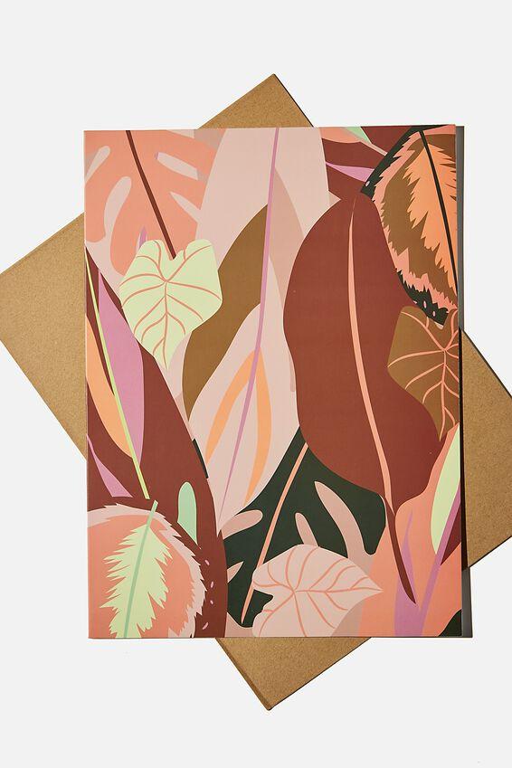 Large Fashion Card, LEAF PRINT MULTI