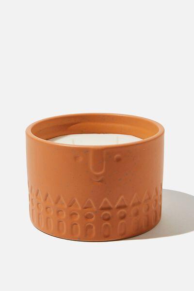Ceramic Face Candle, TERRACOTTA ORANGE