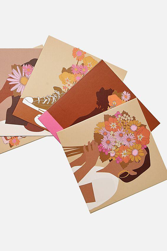 Blank Card Set 10 Pack, GIRL FLOWER ILLO