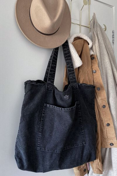 Oversized Tote, WASHED BLACK