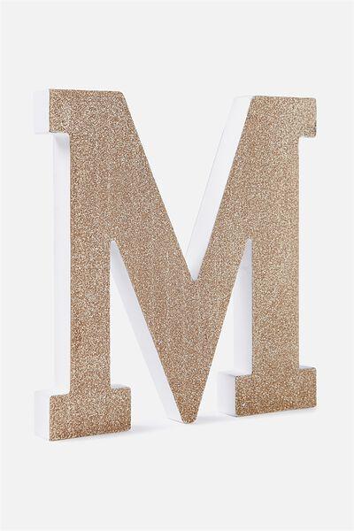 Glitter Letterpress Letter, PALE GOLD GLITTER M