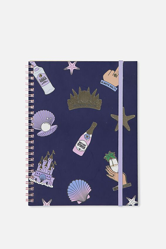 A5 Spinout Notebook - 120 Pages, MERMAID PATCHES!