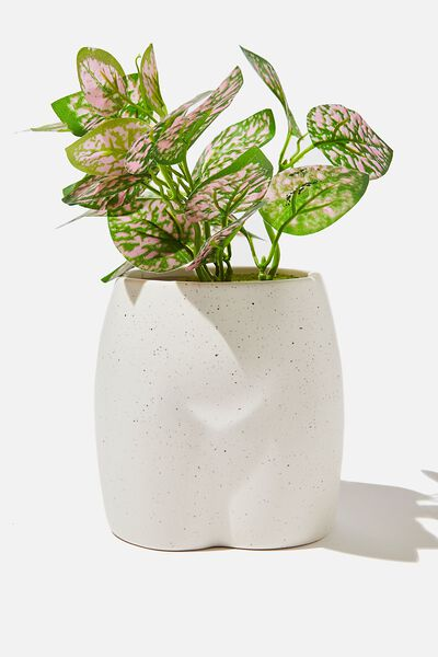 Midi Shaped Planter, WHITE SPECKLE BUTT!