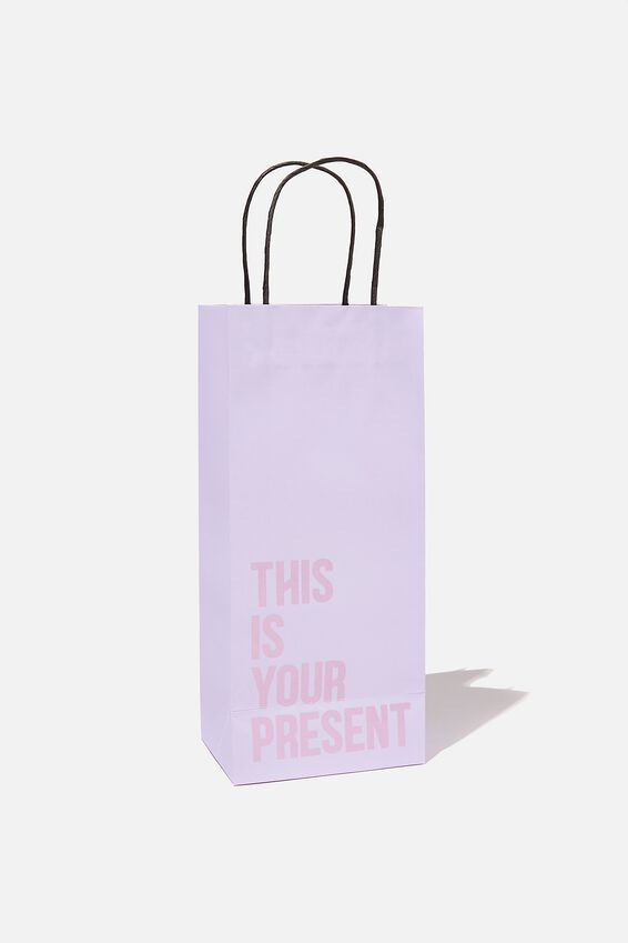Bottle Gift Bag, LILAC  DRIFTWOOD THIS IS YOUR PRESENT