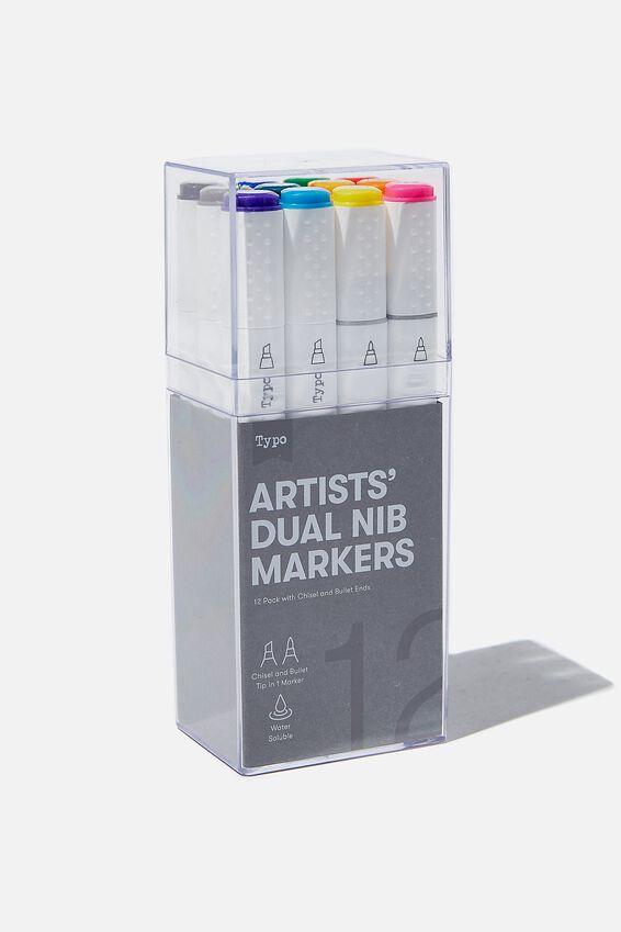 Artists Dual Nib Marker 12Pk, BRIGHTS