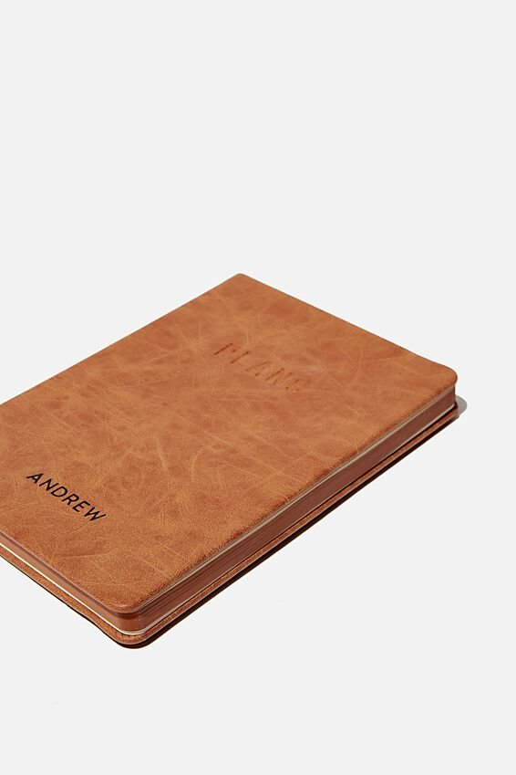 Personalised A5 Undated Weekly Buffalo Diary, MID TAN