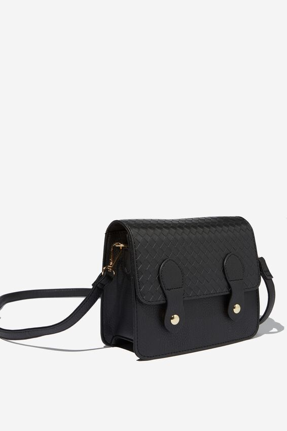 Mini Buffalo Satchel Bag, BLACK WEAVE