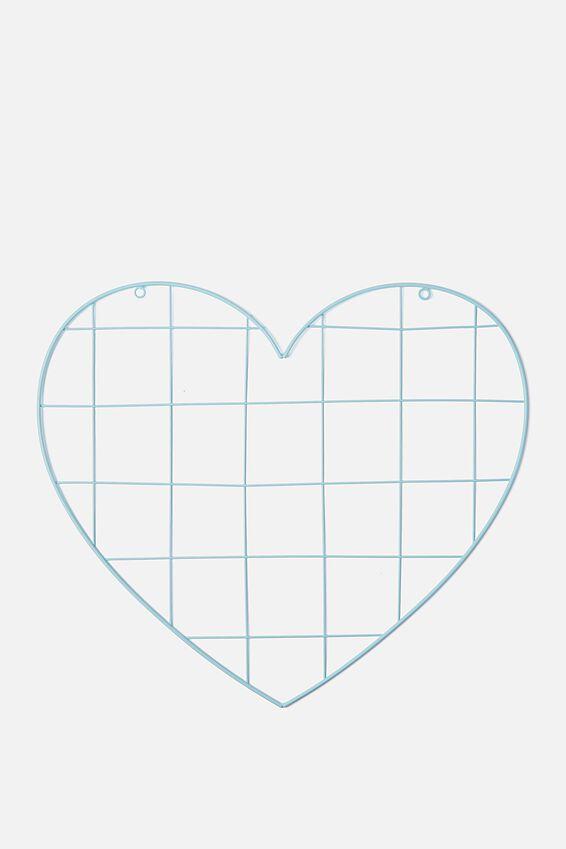 Shaped Wire Organiser, AQUA BLUE HEART
