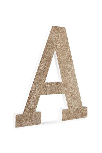Glitter Letterpress Letter, PALE GOLD GLITTER A