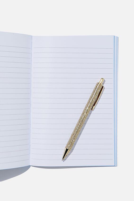 A5 Textured Notebook, BLUE GRID MAP