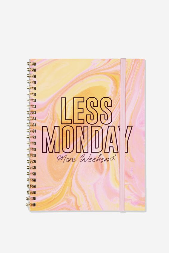 A5 Spinout Notebook Recycled, LESS MONDAYS