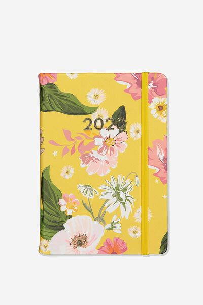 2020 A5 Daily Buffalo Diary, YELLOW FLORAL