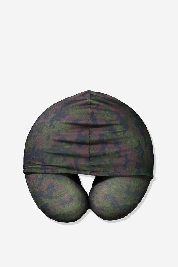 Travel Neck Pillow with Hood, BIG FOOT CAMO