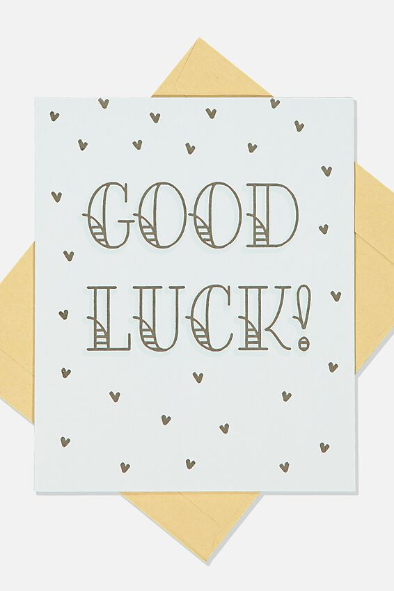 Good Luck Card, BLUE GOLD SPOT