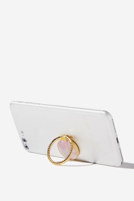 Metal Phone Ring, BLUSH MARBLE STONE