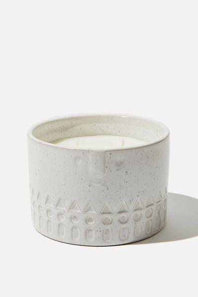 Ceramic Face Candle, ECRU