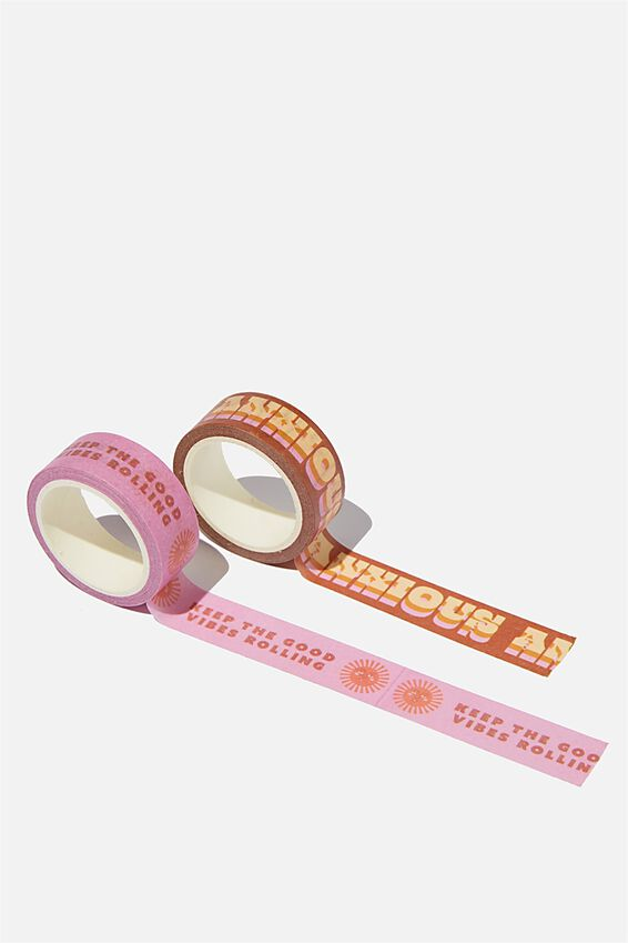 Washi Tape 2Pk, KEEP THE GOOD VIBES ROLLING