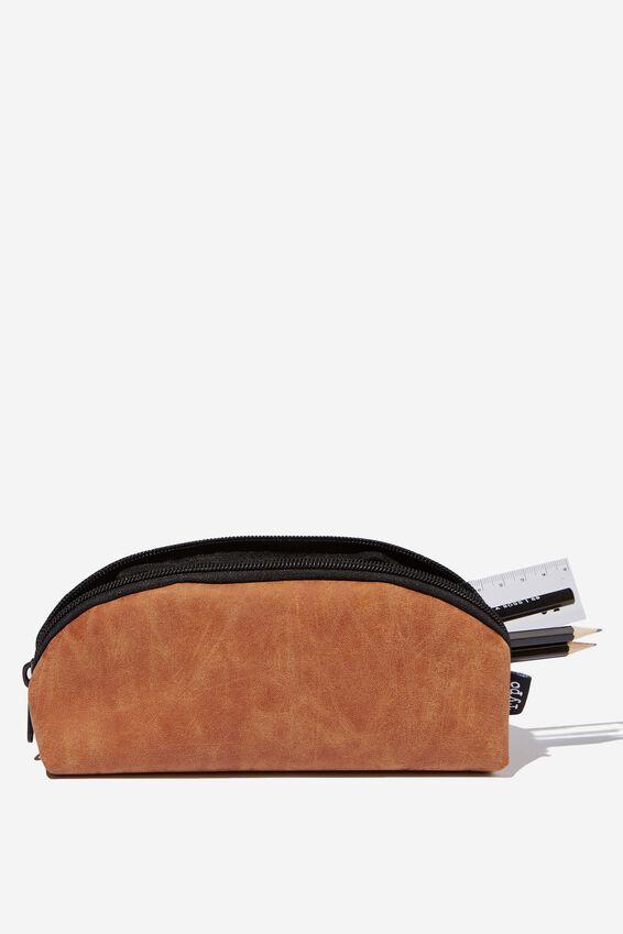 Curved Pencil Case, TAN
