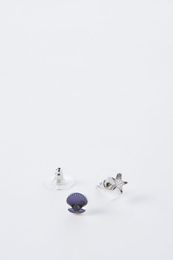 Novelty Earrings, CLAM AND STAR FISH