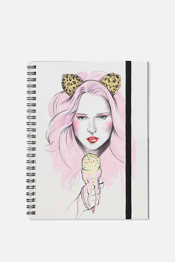 A5 Spinout Notebook Recycled, TBAR ICECREAM LEOPARD
