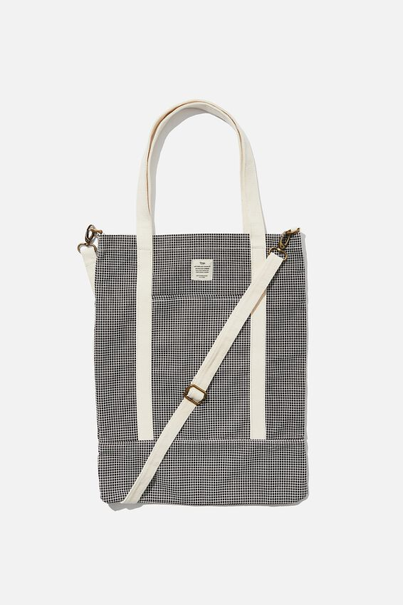 Book Tote Bag, BLACK GRID CHECK