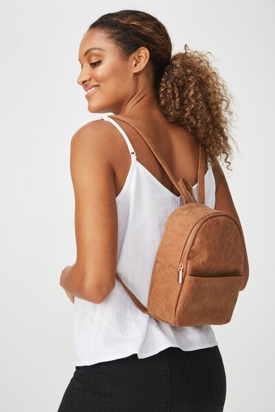 Mini Cairo Backpack, BUTTERFLY TOOLED MID TAN