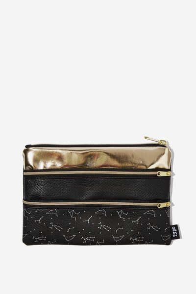 Double Archer Pencil Case, CONSTELLATION AND GOLD