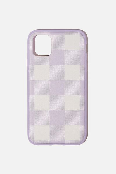 Protective Phone Case iPhone 11, GINGHAM PALE LILAC