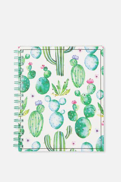 A5 Campus Notebook, WATERCOLOUR CACTUS