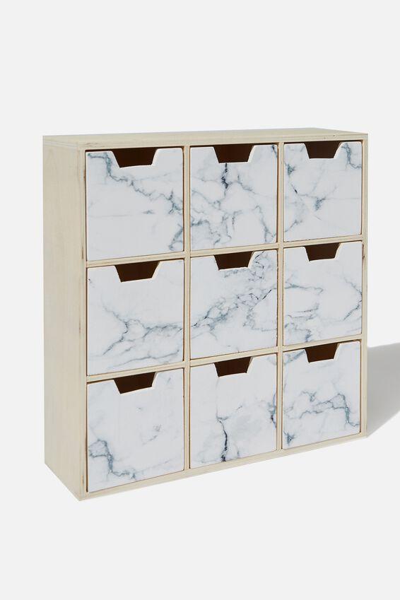 Square Quick Drawer Storage, WHITE MARBLE