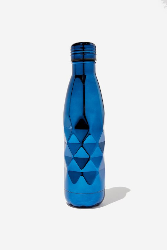 Premium Metal Drink Bottle, NAVY FACETED