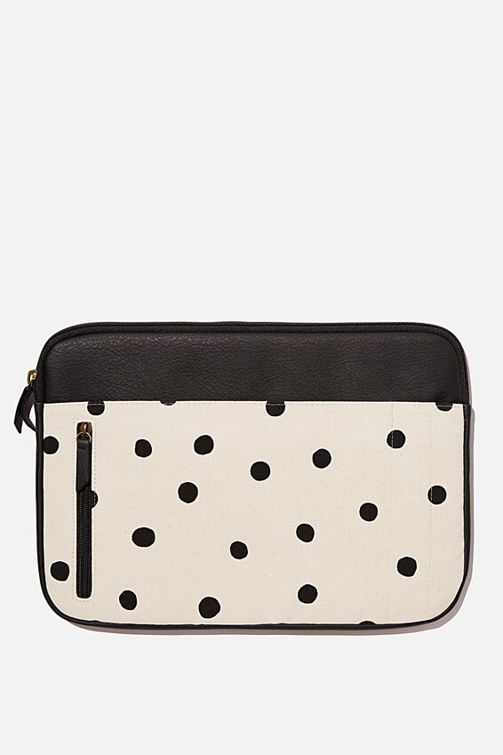 Take Charge 13 Inch Laptop Cover Cvp, OVERSIZED POLKA WITH JETT BLACK